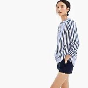 J. Crew blue and white striped tunic top